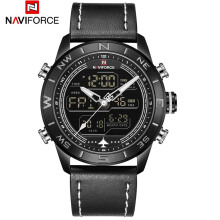 NAVIFORCE 9144 Fashion Gold Men Sport Watches Mens LED Analog Digital Watch Army Military Leather Quartz Watch Black
