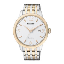 CITIZEN Eco Drive Watch - Silver Gold Strap/White Gold Dial 40mm Gents [BM7304-59A]