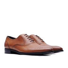 LIFE 8 Nappa Cow Leather Embossed Oxford Shoes - Brown