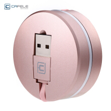 CAFELE 2 in 1 Stretchable USB Charging Cable 8 Pin Data Transfer Rose gold
