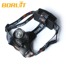 Boruit 2500LM XM-L T6 LED Rechargeable Zoom Adjustble Focus Headlamp 18650 4000mAh Batteries USB/AC US Charger