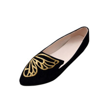 BESSKY Women's Flats Ladies Embroidery Butterfly Suede Shoes Soft Slip-On Casual Shoes_
