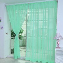 BESSKY 1 PCS Pure Color Tulle Door Window Curtain Drape Panel Sheer Scarf Valances_ Green