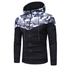 BESSKY Men's Camouflage Long Sleeve Print Hooded Sweatshirt Tops Jacket Coat Outwear_