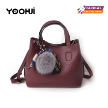 YOOHUI PD2 Litchi pattern soft PU leather ladies handbag female shoulder bag ladies Messenger bag wine Red