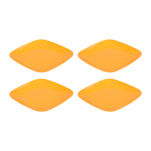 PLASTIK ONE Piring Corel Segi - PCS-0023 (Orange) Set of 4