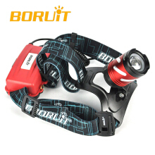 BORUiT B9 LED XP-G2 R5 3 Modes Rechargeable Zoomable SOS whistle MICRO USB Camping Headlamp Headlight RED