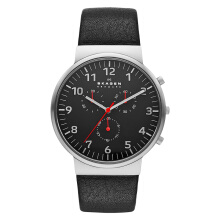 Skagen Ancher Chronograph Black Dial Black Leather Man Watch [SKW6100]