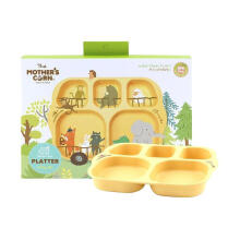 Mother's Corn School Bus Platter Peralatan Makan Bayi - Yellow