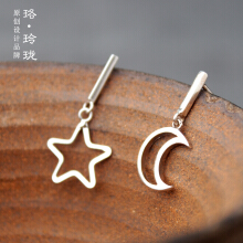 Luo Ling Long Silver sterling silver star moon temperament simple earrings