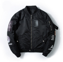 Ins V-383 Trendy brand new Simple Design Pilot baseball jacket-Black