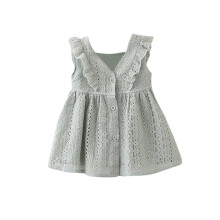 BESSKY Children Infant Kid Girls Lace Ruffles Princess Button Hollow Dress Clothes_