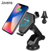 Joveins  Wireless Car Gravity Drive Charger QI Wireless 2in1 Phone Mount Charging Hold for iPhone X 8 Galaxy S8 Qi-Enabled Devic Black