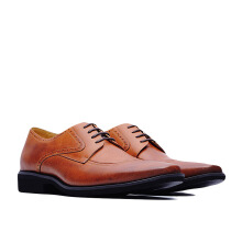 LIFE 8 Lightweight Burnished Derby Shoes - Brown