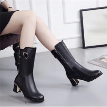 BESSKY Women Warm Shoes Ladies Rough With Wedges High Heel Ankle Boot Zipper Boot _