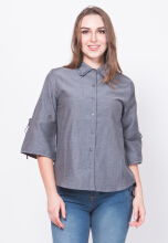 Point One DEVY Tie Sleeve Shirt - Grey