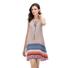 Fashionmall Gamiss Womens Casual Sleeveless Halter Neck Boho Print Short Dress Sundress