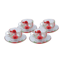 BRILIANT Cup and Saucer GM0808 Set of 8 - Red