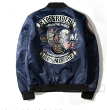 Ins V-360 Trendy brand new Printed Pilot baseball jacket-Navy Blue