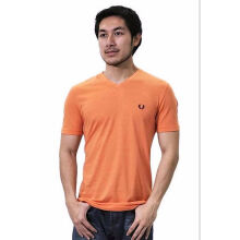 Authentic Fred Perry Men Orange V-Neck T shirt Orange L