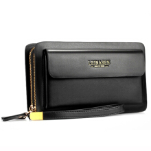 Zanzea Men Business Clutch Handbag PU Leather Waterproof Cell Phone Bag Wallet -Black