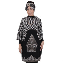 SHE BATIK Dress Batik Wayang Gunung Kotak-kotak - Black