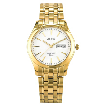 Alba Men White Dial Gold Stainless Steel Strap [AXND40X1]