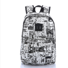 Ins I-230 Trendy outdoor travel &casual backpack-Black&White