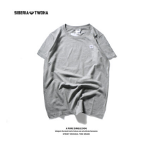 Ins V-247 Siberia Fashion T-shirt with smile-Grey