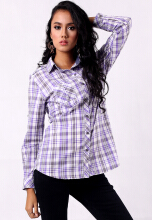 Point One NORINE Purple plaids print shirt with classic colar and Pockets  - Purple