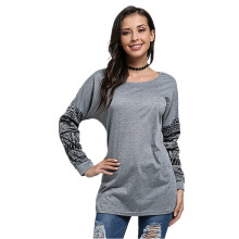 Fashion Women Casual Long Pattern Stitching Sleeve T-Shirt - Grey