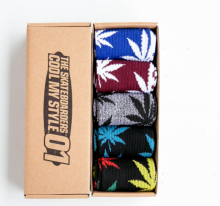 Cool My style CS-4 California skate city Maple leaf socks(about 19cm) five pairs in one set-five colors