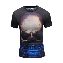 SESIBI 3D T Shirts Men's Printing Tees Male Tops Summer Clothing-The Angry Skull -