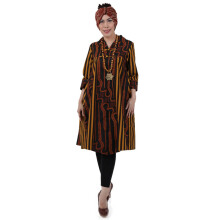 SHE BATIK Dress Batik Tulis Pias Lawasan Kantong - Black Yellow