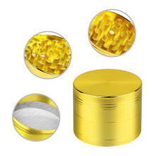 BESSKY New 4-layer Aluminum Herbal Herb Tobacco Grinder Smoke Grinders_ Gold