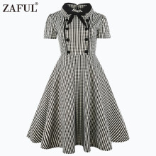 Fashionmall Zaful Women Vintage 50s Plaid Dress Peter Pan Collar Short Sleeve Party Prom Dress