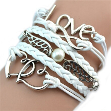 Fashionable and Delicate Bracelet Leather Woven Lady Love hand Chain White