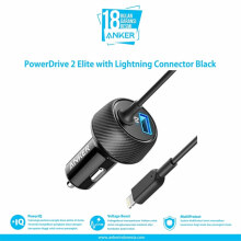 [free ongkir]Anker PowerDrive 2 Elite Car Charger iPhone X Lightni Black - A2214H11