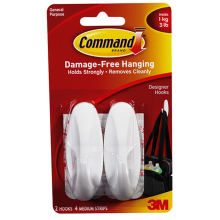 3M Gantungan Serba Guna 3M Medium Sedang Designer Hook 17081 Command White