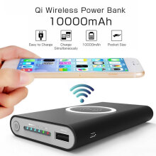 TBQ QI Wireless Charger Power Bank for IPhone 8/X 10000 mAh Portable for Samsung Galaxy S7/S8 Plus Note8 Black