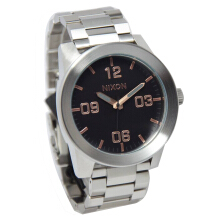 Nixon Corporal SS Stainless Steel Chain Mens A3462064-2184D48GRRG Analog Date Gray Rose Gold Grey
