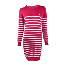 POLO RALPH LAUREN - Lacoste Spandex Boat Neck Dress Red-White Ladies