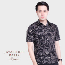 JAYASHREE BATIK Slim Fit Short Sleeve Rama - Black White - XXL