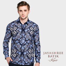 JAYASHREE BATIK Slim Fit Long Sleeve Kavi - Blue