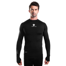 Tiento Baselayer Manset Compression Long Sleeve Black Thumhole Baju Kaos Ketat Olahraga