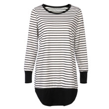 BESSKY Women Stripe Long Sleeve T-Shirt Pullover Casual Patchwork O-Neck Blouse Tops_