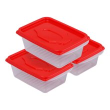 VICTORYHOME Food Box 500ml Set of 3 Transparent - Red