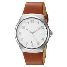 Skagen Sunby White Dial Brown Leather Strap Watch [SKW6269]