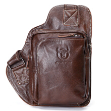 Bullcaptain® Men Genuine Leather Sling Bag Business Casual Outdoor Chest Crossbody Bag for Ipad Mini