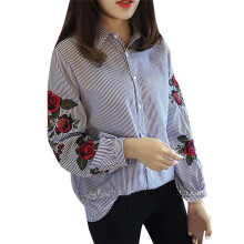 BESSKY Women Casual Blouses StripedLadies Floral Embroidery Lantern Long Sleeve Shirt _